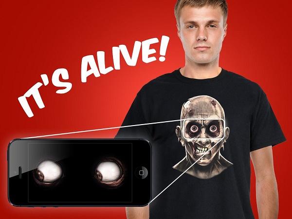 T-shirt med livagtig zombie