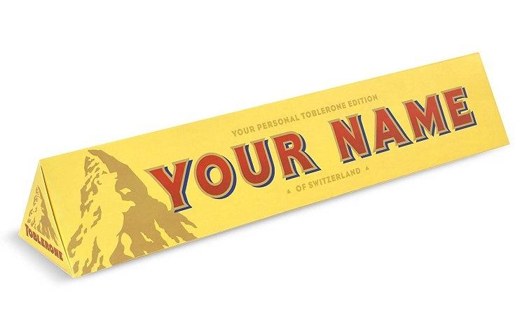 Toblerone chokoladebar med dit eget navn på