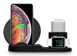Oplader der kan oplade telefon, smartwatch og høretelfoner