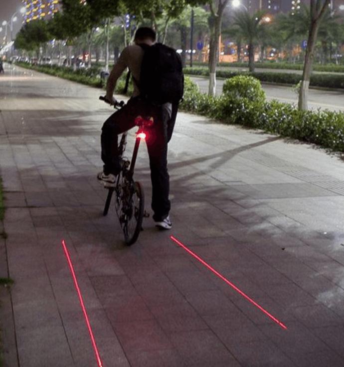 Baglygte med laserlys til cyklen