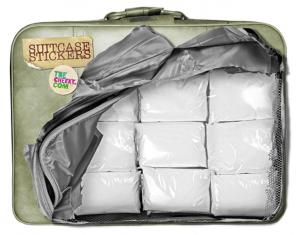 Klistermærke med kokain og penge til at klistr på kuffert