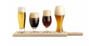 Ølsmagningssæt med 4 glas og træbræt
